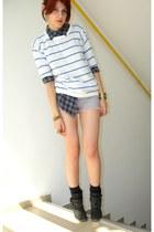dark gray BBup boots - white striped fishbone sweater - navy plaid New Yorker sh
