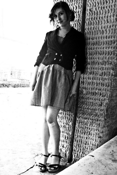 black H&M jacket - white H&M dress - black sandals