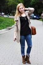 army green leather Bershka boots - blue denim Zara jeans