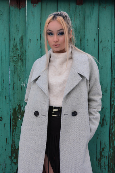 asos coat - Zara sweater - H&M bag - asos belt