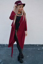 black H&M scarf - brick red Tally Weijl hat - black svarowski sunglasses