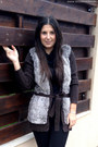 Dark-brown-vero-moda-jacket-black-zara-pants