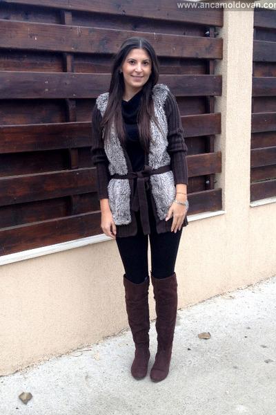 dark brown Vero Moda jacket - black Zara pants