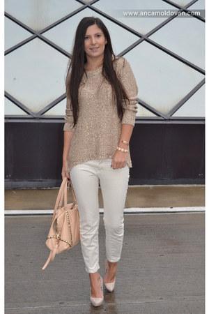 camel Zara blouse - neutral Zara pants - peach Bershka heels