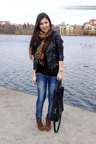 black Zara jacket - navy Bershka jeans - bronze pull&bear scarf - black c&a bag