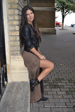 Fossil watch - black boots - brown Zara dress - black Zara jacket - H&M bracelet