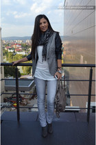 black Zara blazer - charcoal gray Bershka boots - heather gray Bershka jeans
