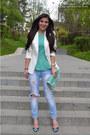 Bershka-jeans-off-white-bershka-blazer-aquamarine-new-look-bag