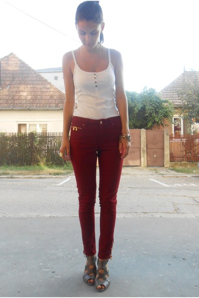 crimson Zara pants - camel bracelet - white Donna Lewis top