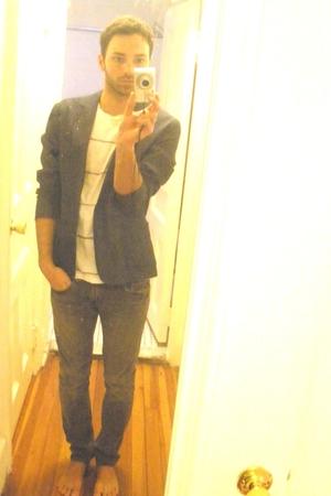 blue asos blazer - white Rxmance t-shirt - silver Levis jeans