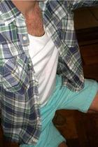 green H&M shorts - blue J Crew shirt - white Shades of Greige t-shirt