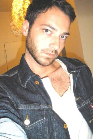 blue Levis jacket - beige American Apparel shirt - silver Levis jeans