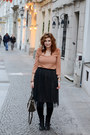 Black-zara-boots-black-tulle-zara-skirt-nude-h-m-top