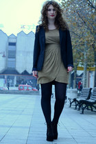 black Jeffrey Campbell boots - camel Koton dress - black Bershka blazer