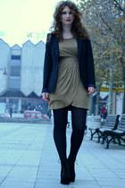 black Jeffrey Campbell boots - camel Koton dress - black Bershka blazer