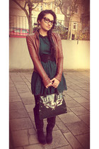 black H&M boots - forest green H&M dress - burnt orange H&M jacket