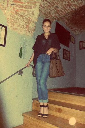 brown bag - teal Levis jeans - black H&M top - black H&M sandals