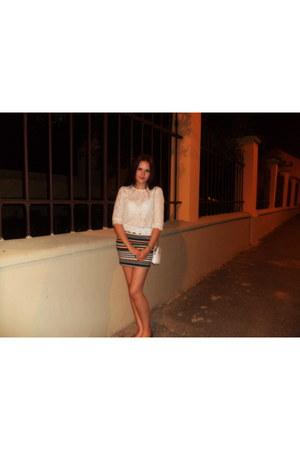 white Pierre Cardin purse - turquoise blue Bershka skirt - silver flats