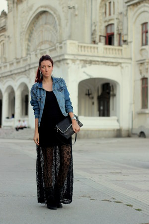 black Zara boots - black Zara dress - blue pull&amp;bear jacket - black Zara bag