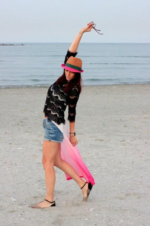 blue Zara shorts - Polo Garage hat - black Zara blouse - bubble gum H&M top