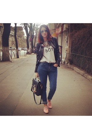 black Bershka jacket - blue H&M jeans - black bag - bubble gum Musette flats