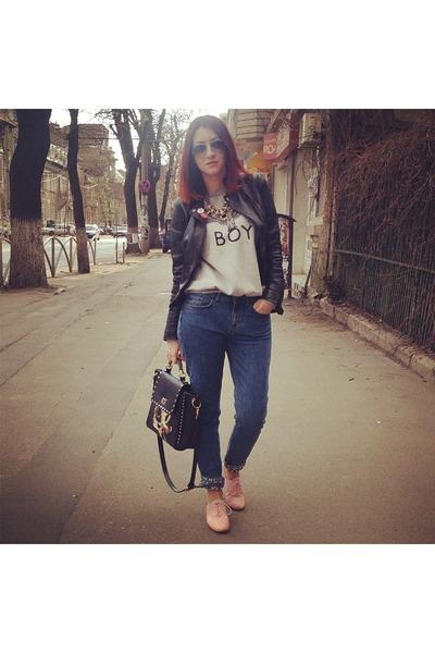 black Bershka jacket - blue H&M jeans - black bag - bubble gum Musette flats
