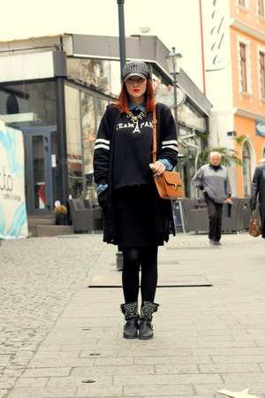 Zara boots - Zara hat - bag - Zara skirt - Misbhv hoodie - Zara necklace