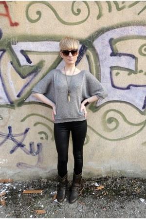 blouse - brown boots - black leggings - leopard print H&M sunglasses
