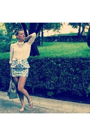 BLANCO skirt - white BLANCO shirt - camel DAY A DAY bag - Sfera sandals