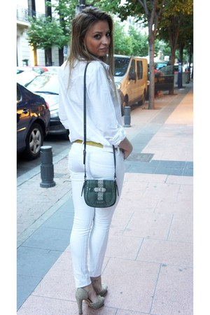 white BLANCO shirt - dark green Guess bag - Mango pants