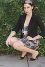 Black-smart-set-blazer-ivory-central-park-west-shirt-gray-rw-co-skirt-must