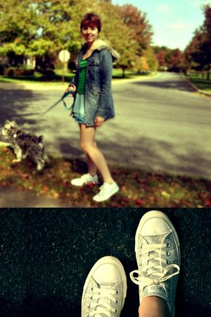 green Aeropostale shirt - blue H&M skirt - silver Converse shoes - blue vintage