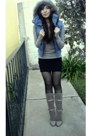 black Zara skirt - violet Forever 21 vest - beige boots
