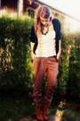 Amisu-cardigan-tally-weijl-pants-amisu-shoes-ann-christine-top-h-m-neckl