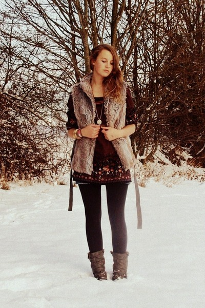 tan Flame vest - bronze Vero Moda dress - heather gray Rieker boots - gray H&M t