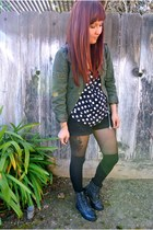 Forever 21 boots - Forever 21 jacket - American Apparel tights