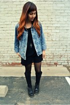Forever 21 jacket - doc martens boots - American Apparel dress