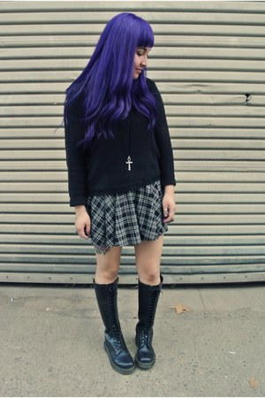 doc martens boots - thrifted sweater - Forever 21 skirt