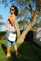 light pink t-shirt - light yellow Mazzarri shoes - light blue jeans - white bag