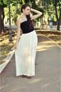 White-skirt-black-top-brown-animal-print-new-look-flats
