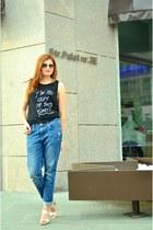 black chicnova t-shirt - navy H&M jeans - dark gray rayban sunglasses