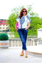 white cotton Lady Di blouse - navy denim H&M Trend jeans