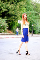 yellow lace choiescom vest - navy Nicole Enea skirt