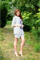 white striped Zara suit - sky blue printed Zara blouse - cream Geox sandals