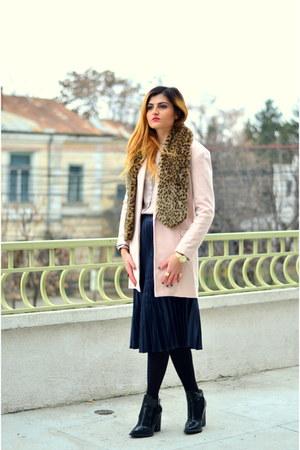 black Zara boots - light pink Sheinside coat - beige silk H&M shirt