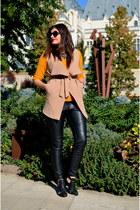 nude Sheinside vest - black H&M pants - carrot orange Forever 21 blouse