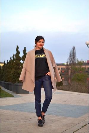 beige Coup De Foudre coat - black blackfive sweater - navy pull&bear pants