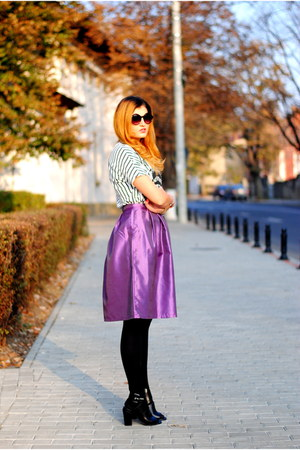 white PERSUNMALL blouse - purple custom made skirt - black Bershka sandals