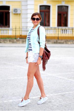 dark brown pull&bear bag - aquamarine new look blazer - white pull&bear shorts