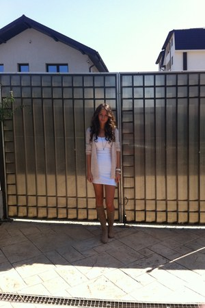 cream random store boots - Bershka dress - shiny cream H&M cardigan